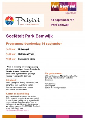 14 september optreden in de Eemhof